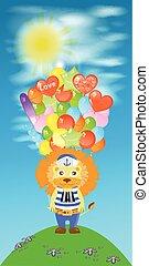 leão, ilustração, s, lote, balls., crianças
