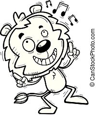 leão, macho, caricatura, dançar
