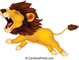 leão, rugindo, caricatura