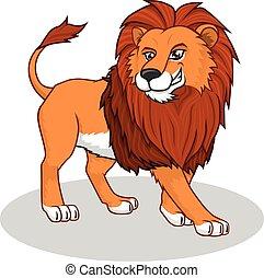 leão, vetorial, caricatura, ilustração