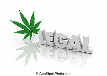 legal, marijuana, recreacional, uso, palavra, ilustração, medicinal, 3d