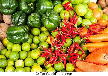 legumes frescos, mercado, orgânica, asiático