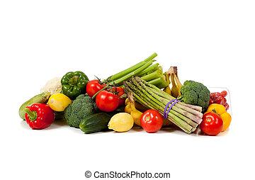 legumes, frutas, fundo branco, sortido
