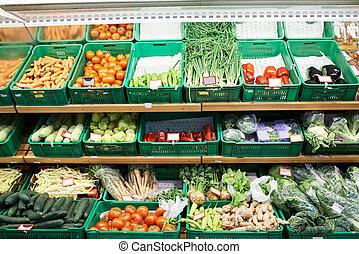 legumes, mercado, frutas