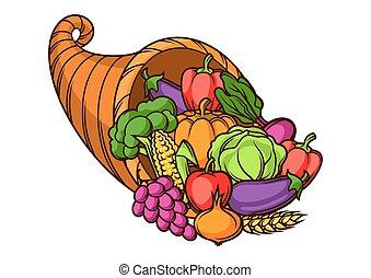 legumes, sazonal, colheita, cornucópia, ilustração, .autumn, frutas