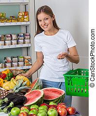 legumes, shopping mulher, loja, frutas