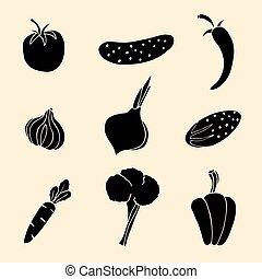 legumes, vetorial, jogo, icons.