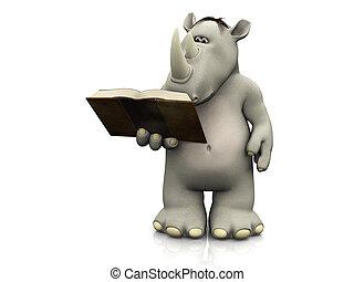 leitura, caricatura, book., rinoceronte