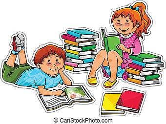 leitura, crianças