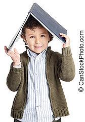 leitura menino, adorável, livro