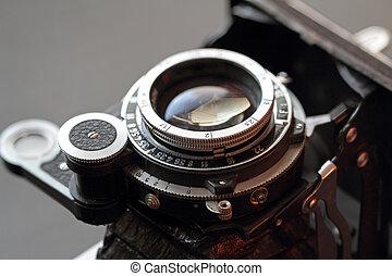 lente, close-up., câmera, antigas