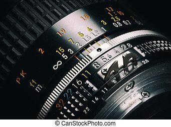 lente, fim, câmera, antigas, cima