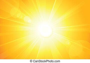 lente, sol, luminoso, vetorial, chama