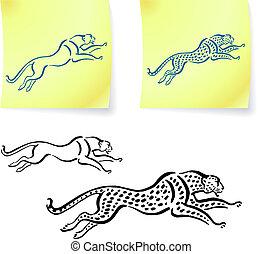 leopardo, aquilo, desenhos, onça pintada, poste, notas