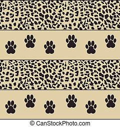 leopardo, vetorial, patas, fundo
