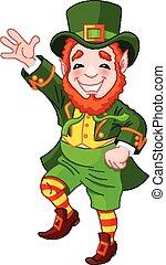 leprechaun, afortunado, dançar