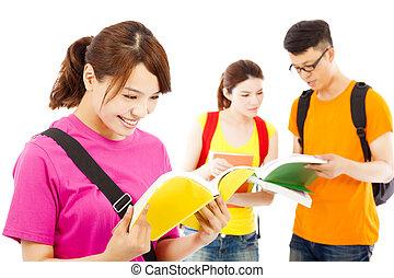 ler, livro, estudante, colegas, jovem