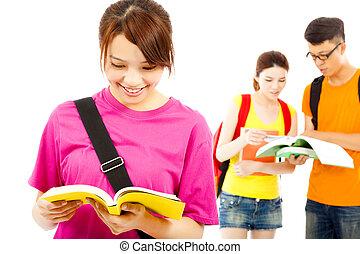 ler, livro, jovem, estudante, colegas, asiático
