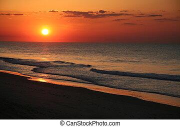 leste, praia, amanhecer, costa