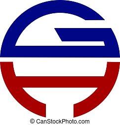 letra, desenho, logotipo, gh, modernos