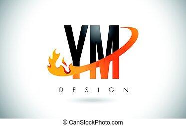 letra, laranja, logotipo, desenho, m, swoosh., chamas, y, ym, fogo