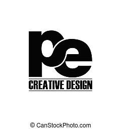 letra, simples, logotipo, vetorial, pe
