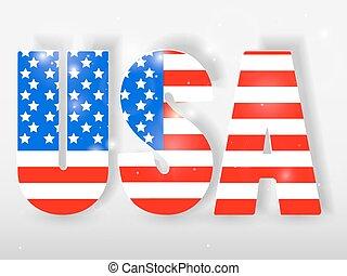 letras, illustration., eua, experiência., bandeira, vetorial