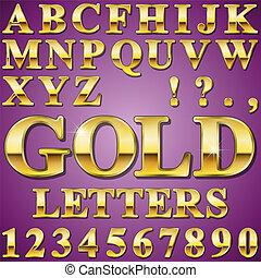 letras, ouro