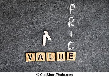 letras, tábua, alfabeto, madeira, concept., cinzento, valor, preço, giz