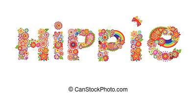 lettering, flores, hippie, coloridos, arco íris