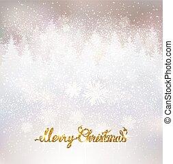 lettering, inverno, ouro, nevado, fundo, feliz, feriado, brilhante, natal, paisagem