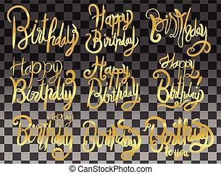 lettering, jogo, modernos, isolado, aniversário, vetorial, escova, fundo, impressão, design., branca, manuscrito, feliz