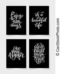 lettering, jogo, positivo, quatro, pretas, citação, branca, manuscrito