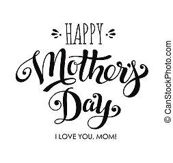 lettering, mães, saudação, dia, cartão, feliz