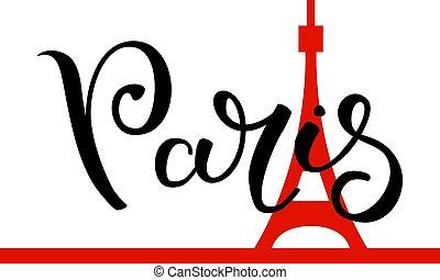 lettering, mão, torre, eiffel, experiência., paris