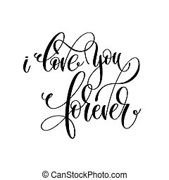 lettering, para sempre, amor, inscrição, mão, pretas, tu, branca