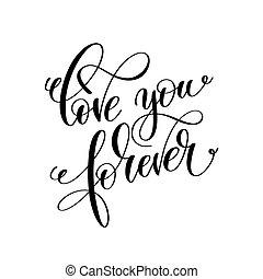lettering, para sempre, amor, inscrição, mão, pretas, w, tu, branca