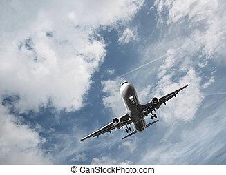 levando, avião, desligado, passageiro