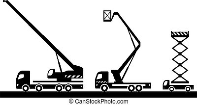 levantamento, maquinaria construção