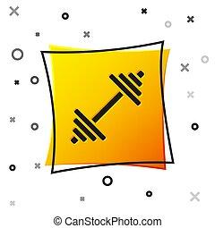 levantamento, vetorial, experiência., condicão física, ícone, bumbbell., amarela, barbell, equipamento, exercício, branca, quadrado, button., músculo, ginásio, dumbbell, pretas, isolado, esportes, ícone