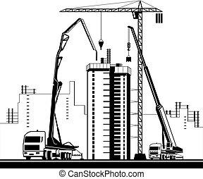 levantar, maquinaria, alto, construção