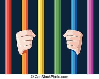 lgbt, barras, mãos, ilustração, arco íris
