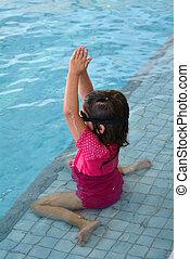 lição, criança, piscina, natação