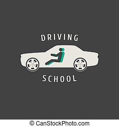 lições, anunciando, vetorial, silueta, automático, automóvel, escola, emblem., sinal, dirigindo, car, element., logotipo, desenho, ilustração, conceito, insignia