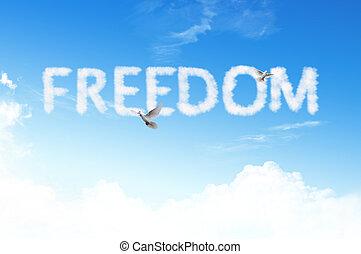 liberdade, palavra, nuvem, céu