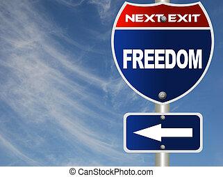 liberdade, sinal, estrada