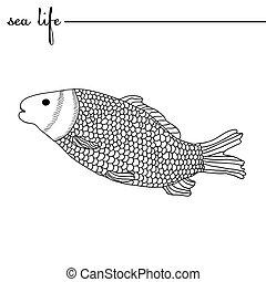 life., mão, esboços, pretas, vetorial, carpa, doodle, mar, desenhado, branca, original, drawing., illustration.