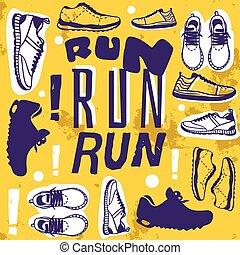 lifestyle., corrida, bandeira, saudável, cartaz, sapatos, motivational, quote., criativo, desporto, executando, vetorial, sneakers, trainers., fitness., treinamento, illustration.