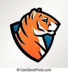 liga, escola, desporto, escudo, mascote, futebol, insignia, tiger, alto, vetorial, faculdade, equipe, template., basebol, remendo, ou, design.
