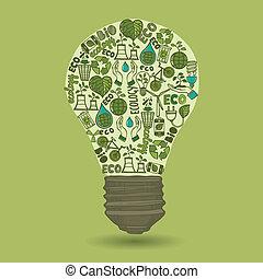 lightbulb, desperdício, esboço, ecologia, ícones